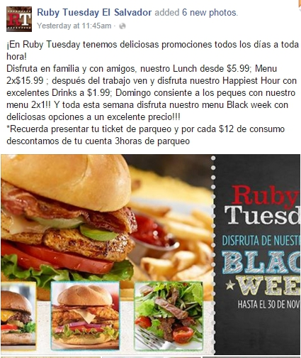 Ruby Tuesday, Miyagi's , Take a Wok, las brumas, don li, chinese food, sushi king, olive garden, Bennigans, irish , go green, juan valdez, gofres, black friday, el salvador, restaurantes, food blogger , cinnabon