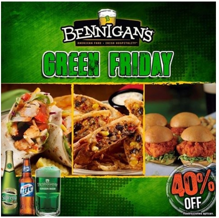 Bennigans, irish , go green, juan valdez, gofres, black friday, el salvador, restaurantes, food blogger , cinnabon